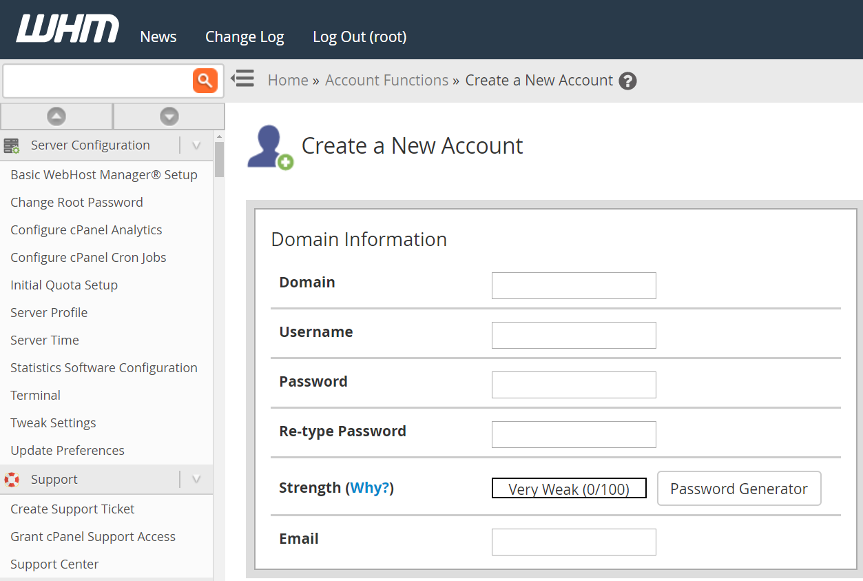 cPanel, create a new account